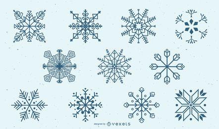 Conjunto de silhueta de floco de neve