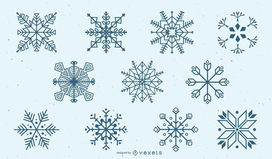 Schneeflocke Silhouette Set