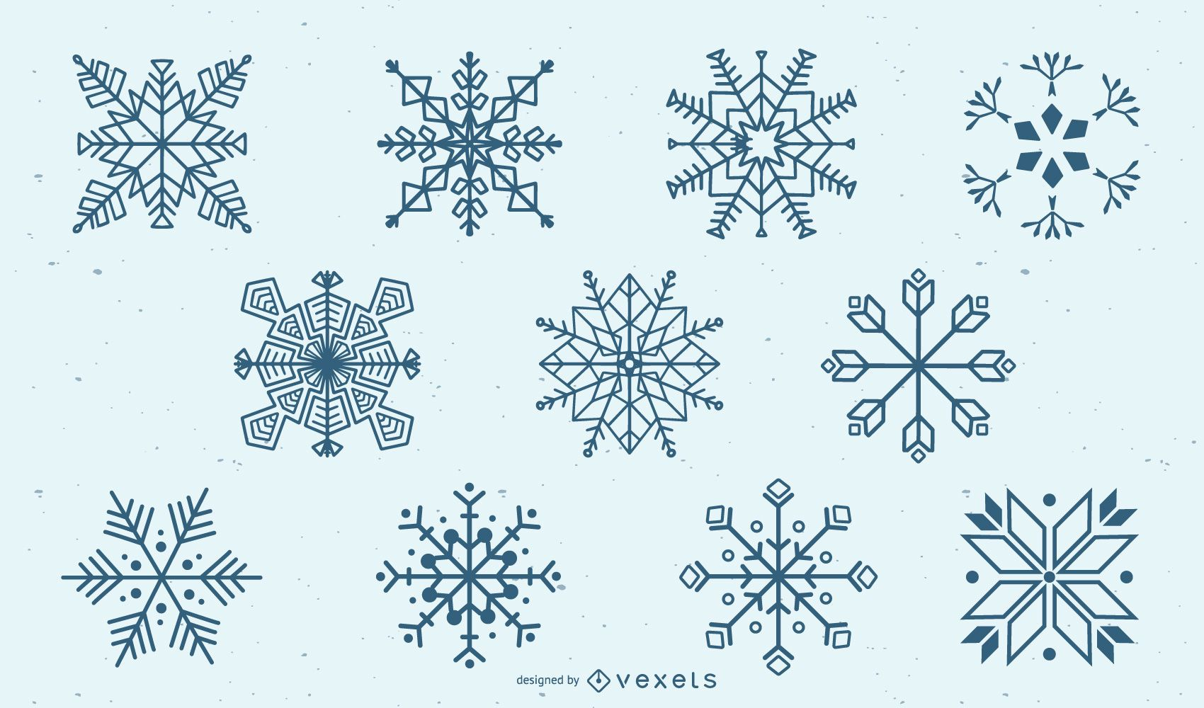 Conjunto de silueta de copo de nieve