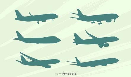 Conjunto de silhueta de vista lateral de avião