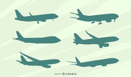 Conjunto de silueta de vista lateral de avión
