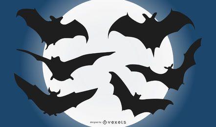 Conjunto de silhueta de morcego voando