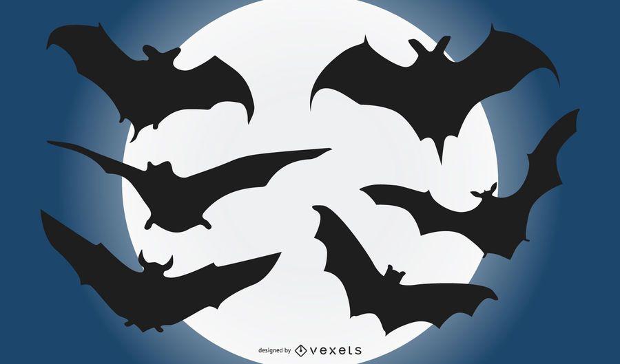 Bat Flying Silhouette Set