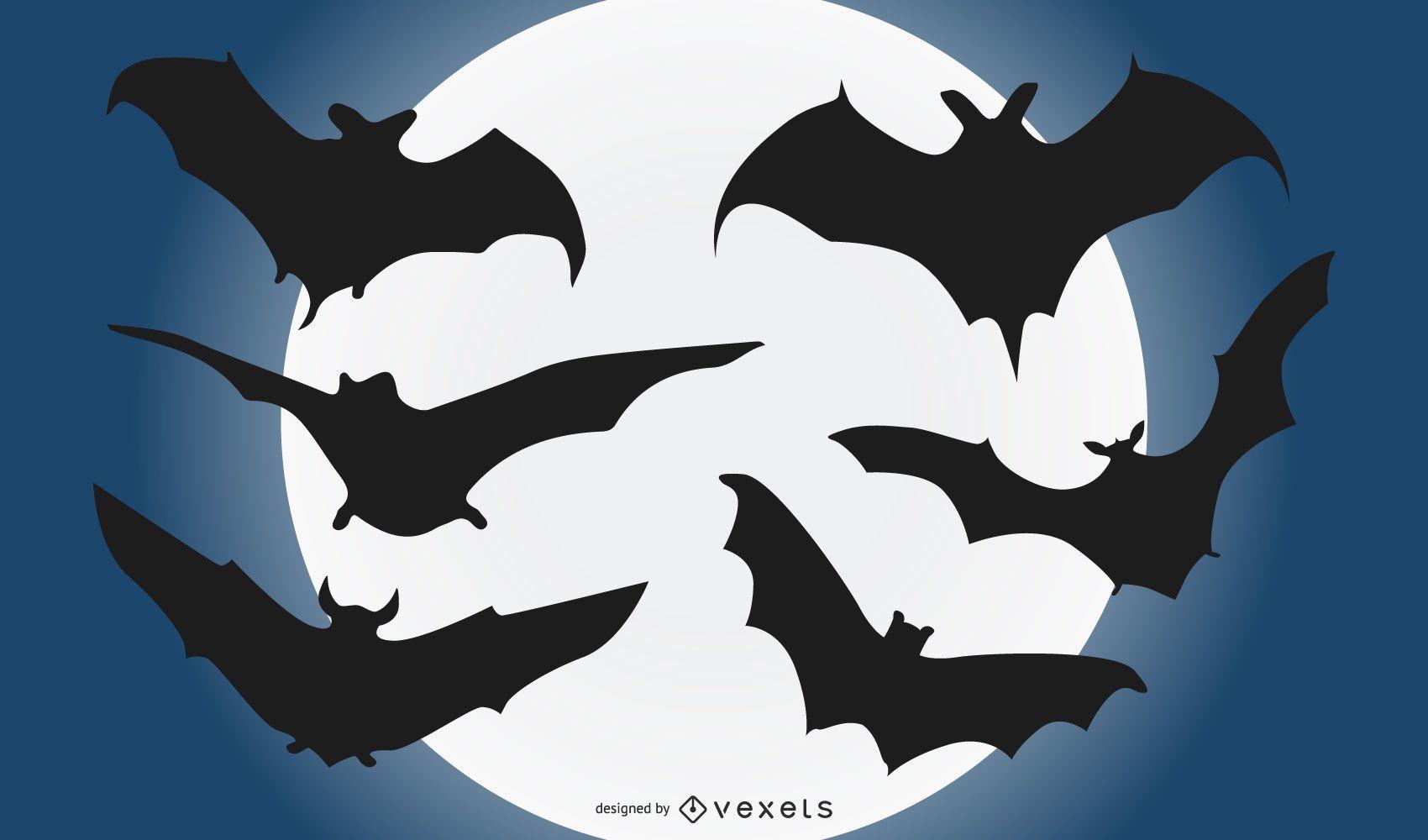 Conjunto de silueta de murciélago volando