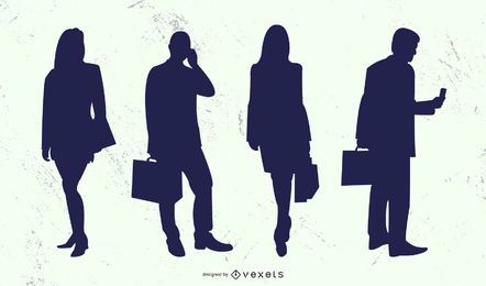 Business People Man Woman Silhouette Set
