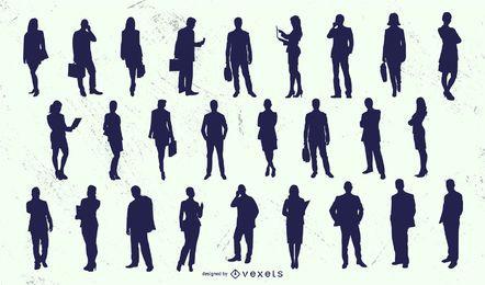 Conjunto de silueta de mujer de hombre de gente de negocios