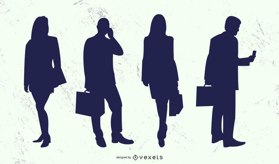 Conjunto de silhueta de mulher de homem de pessoas de negócios