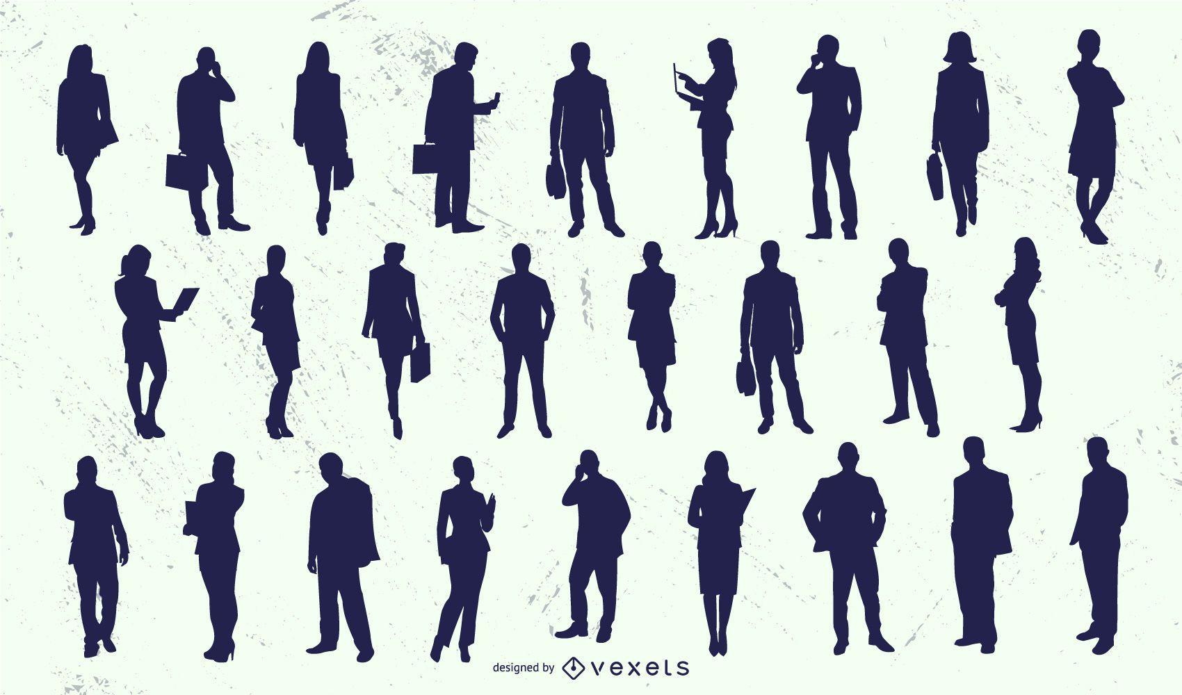 Business People Man Woman Silhouette Set
