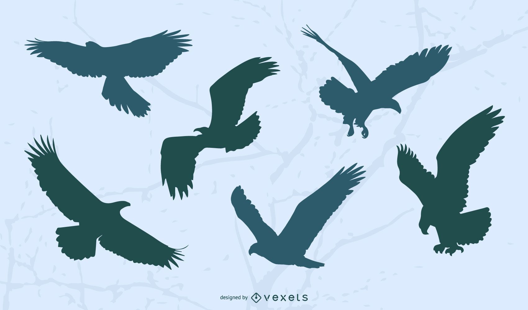 Eagle Flying Silhouette Set
