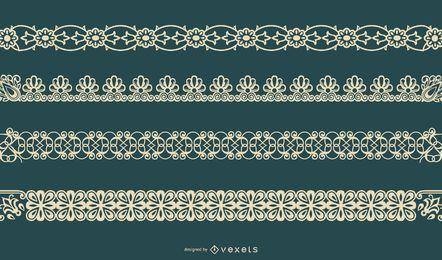 Conjunto de vector de frontera floral delicado