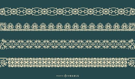 Delicate Floral Border Vector Set