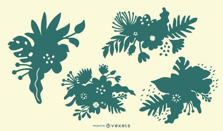 Tropical Flower Silhouette Set