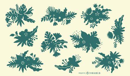 Conjunto de silueta de flores tropicales