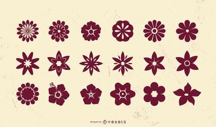 Conjunto de silueta de icono de flor