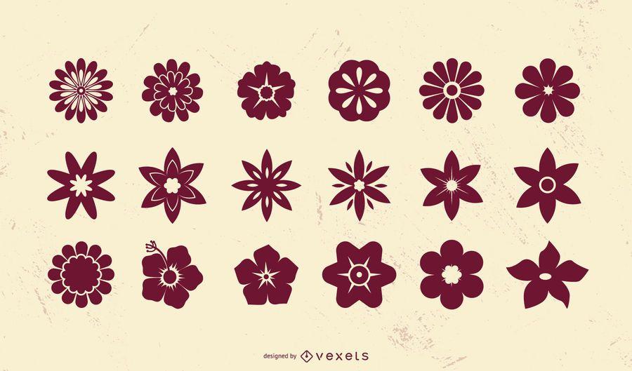 Conjunto de silhueta de ícone de flor