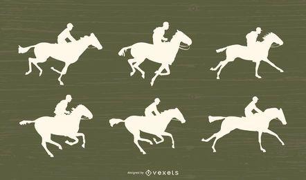 Conjunto de silhueta de corrida de cavalos