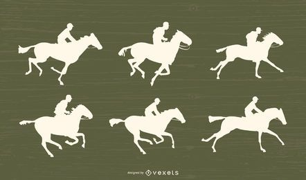 Conjunto de silueta de carreras de caballos