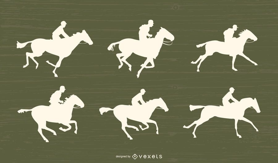 Horse Racing Silhouette Set