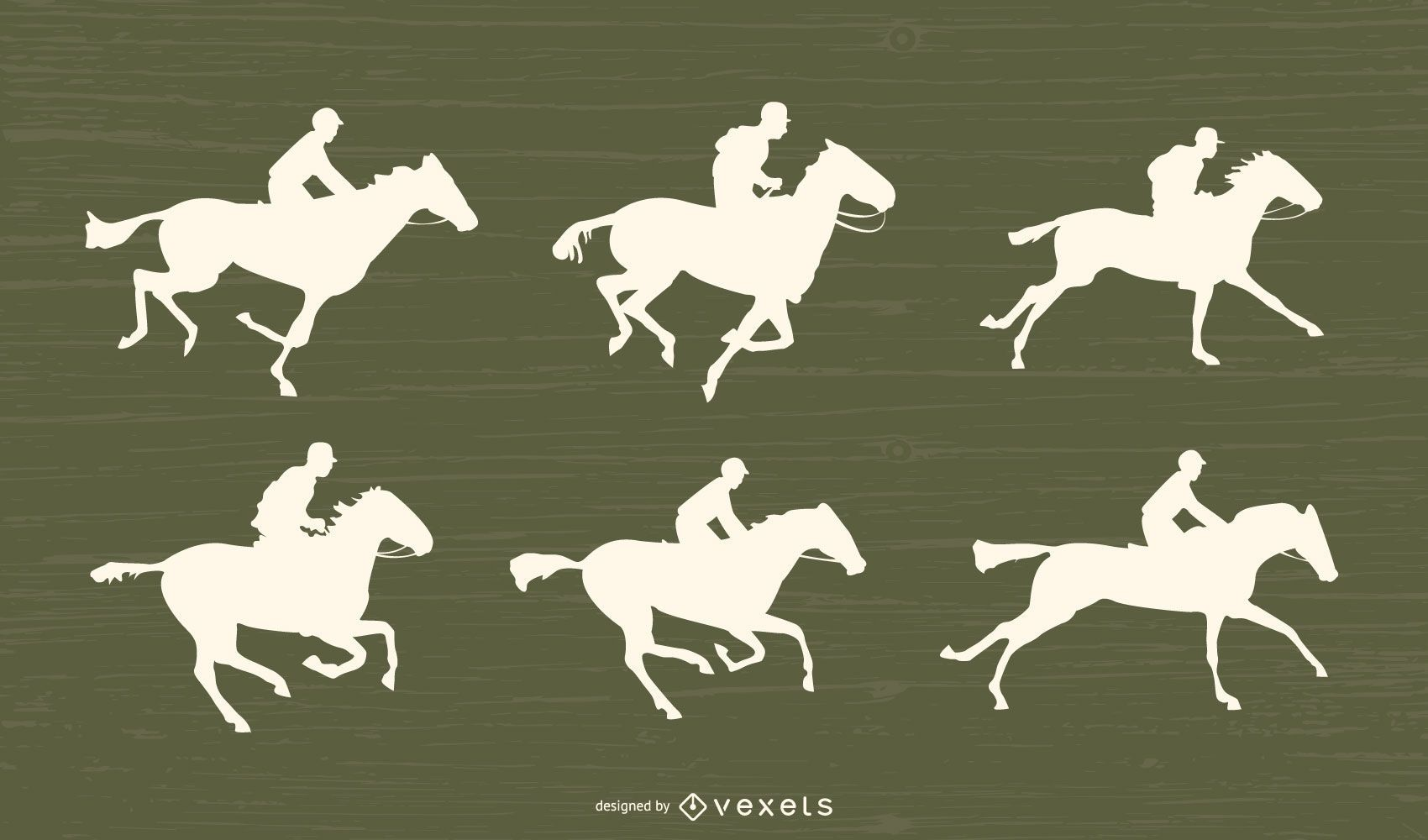 Horse Racing Silhouette Set
