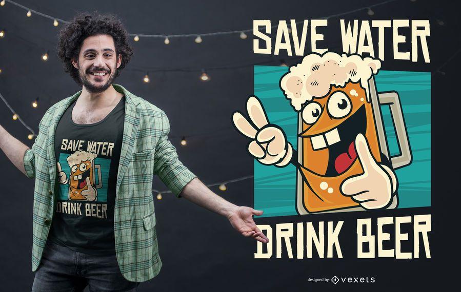 Ahorre agua camiseta divertida diseño