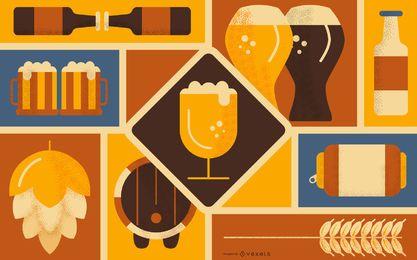 Design de fundo de elemento de cerveja