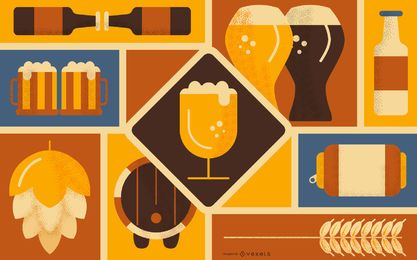Diseño de fondo de elemento de cerveza
