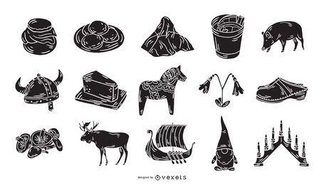 Coleção de ícones de silhueta de elementos suecos