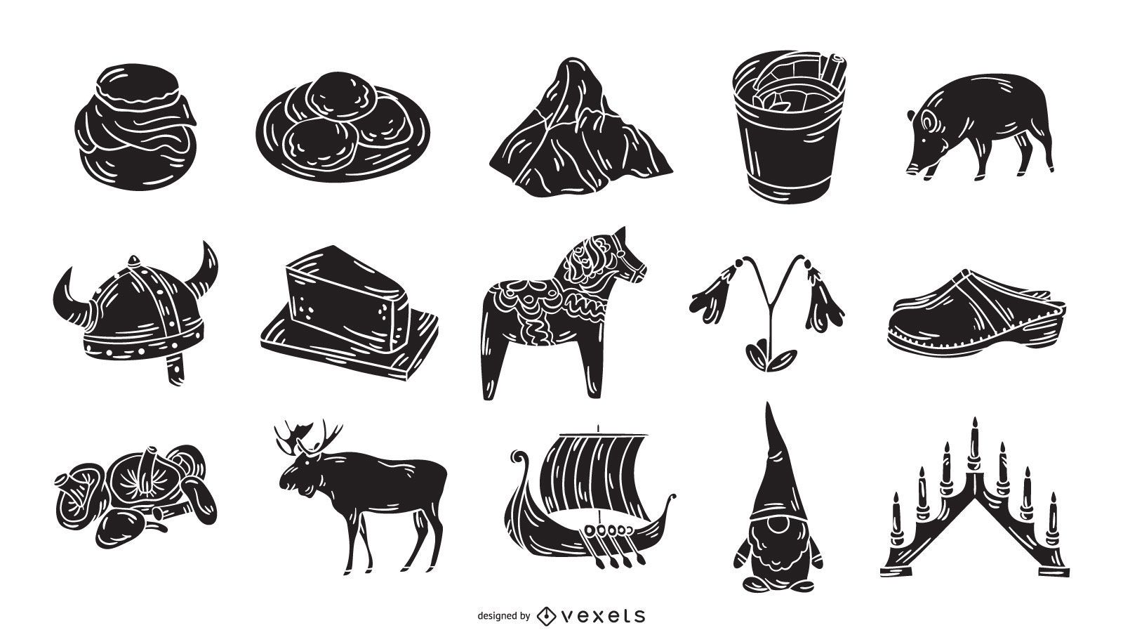 Colección de iconos de silueta de elementos suecos