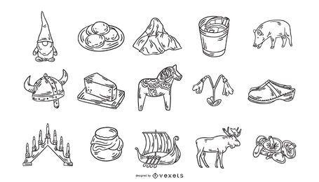 Coleção de ícones de traçado de elementos suecos