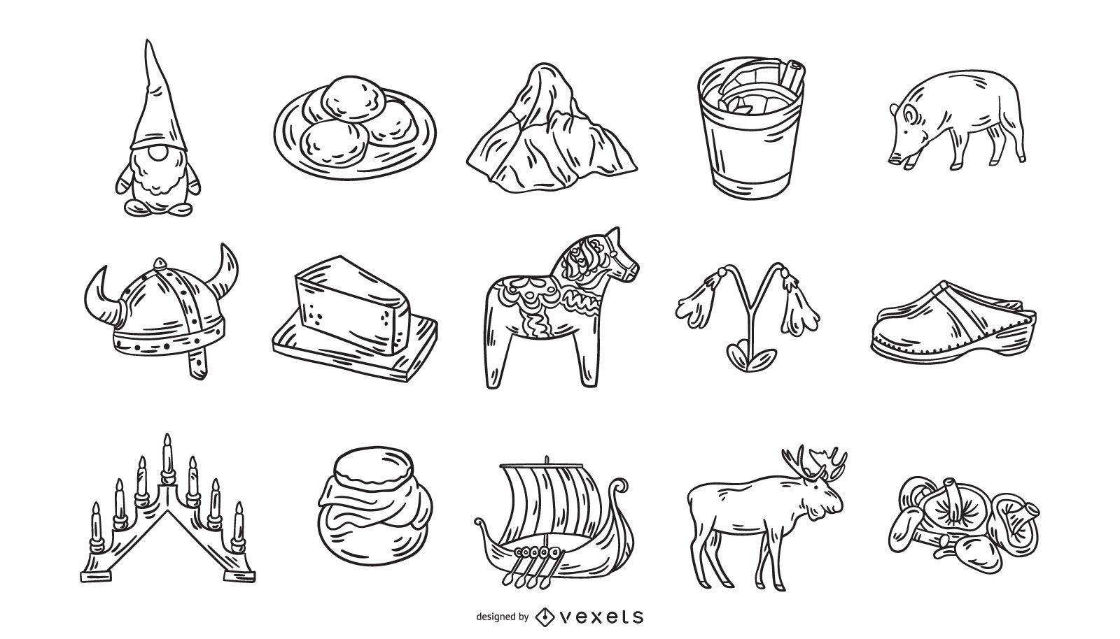 Colección de iconos de trazo de elementos suecos