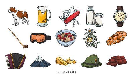 Colección de elementos de iconos de Suiza