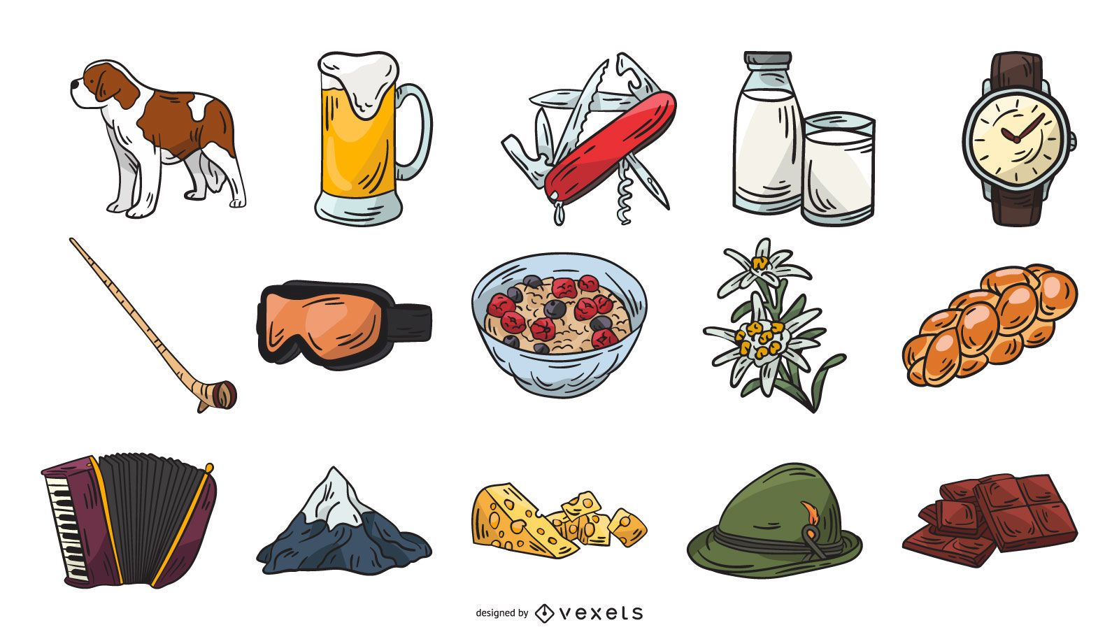 Switzerland Icon Element Collection