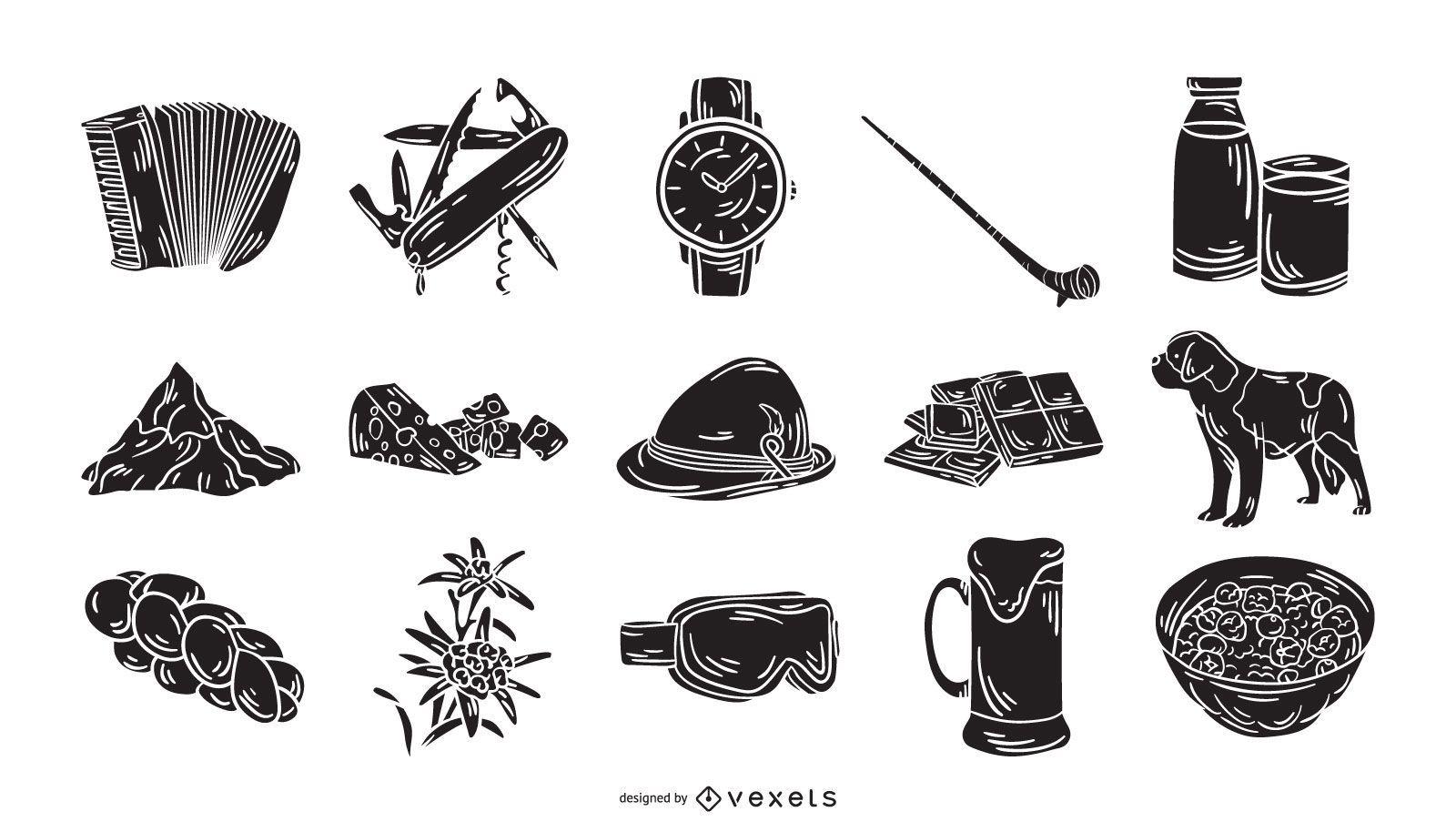 Colección de silueta de elemento de icono de Suiza