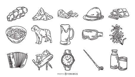 Coleção de traços de elemento de ícone da Suíça