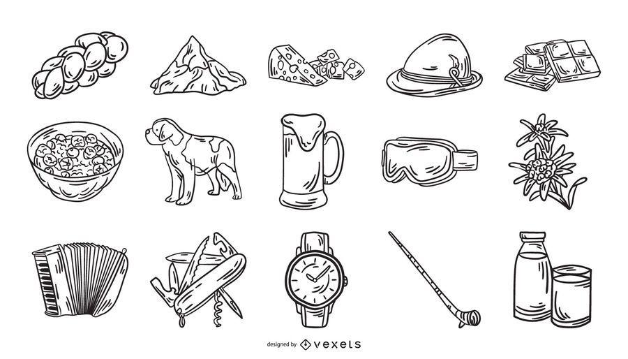 Switzerland Icon Element Stroke Collection