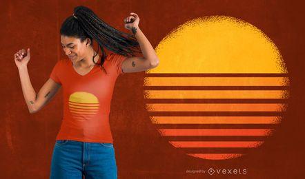 Projeto do t-shirt do por do sol do vintage