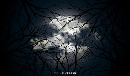 Fondo de Vector de luna llena de Halloween