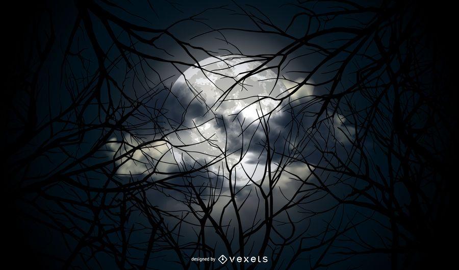 Fundo de vetor de lua cheia de Halloween