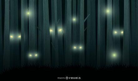 Fundo assustador do vetor da floresta da noite