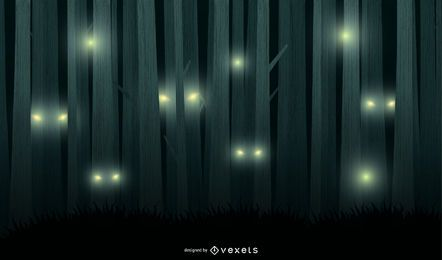 Unheimlicher Nachtwald-Vektor-Hintergrund