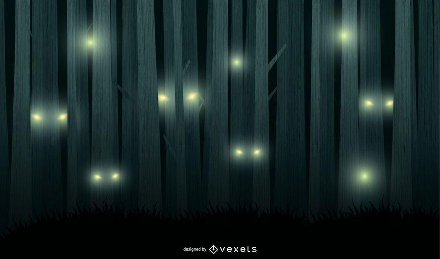 Fondo de vector de bosque de noche de miedo