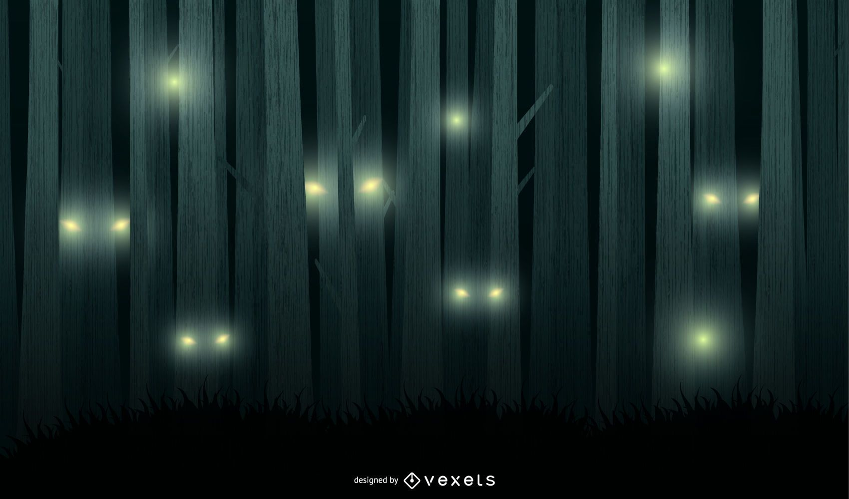 Scary Night Forest Vector Background