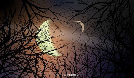 Halloween Nacht Wald Hintergrund