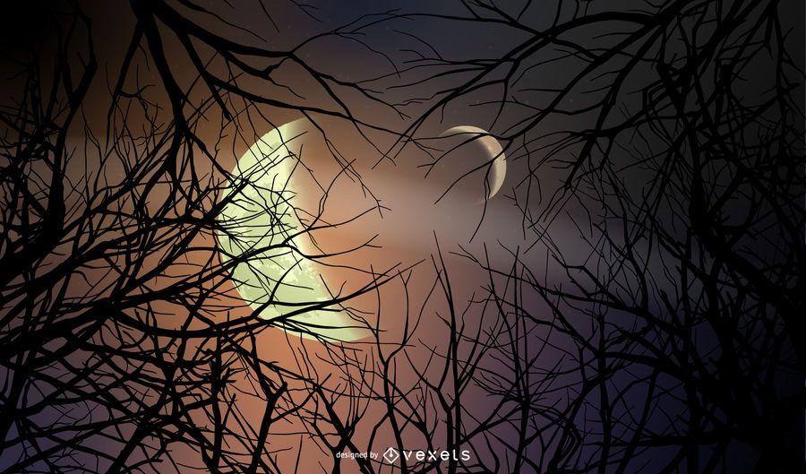 Fondo de bosque de noche de Halloween