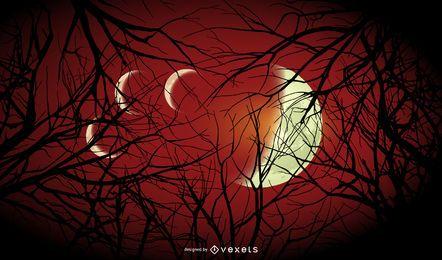 Fundo de luas de Halloween
