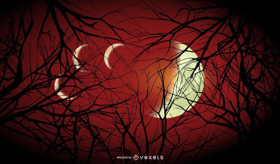 Fondo de lunas de Halloween