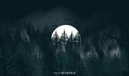 Fondo de halloween de luna llena