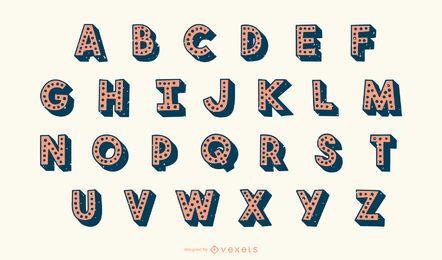 Conjunto de vetores de letras pontilhadas 3D em alfabeto