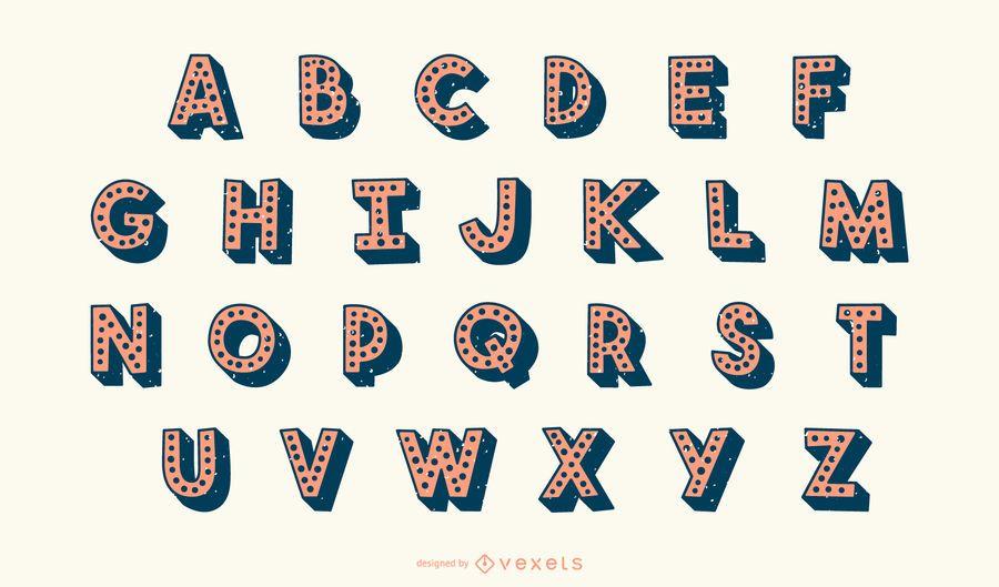 Conjunto de vectores de letra del alfabeto punteado 3D