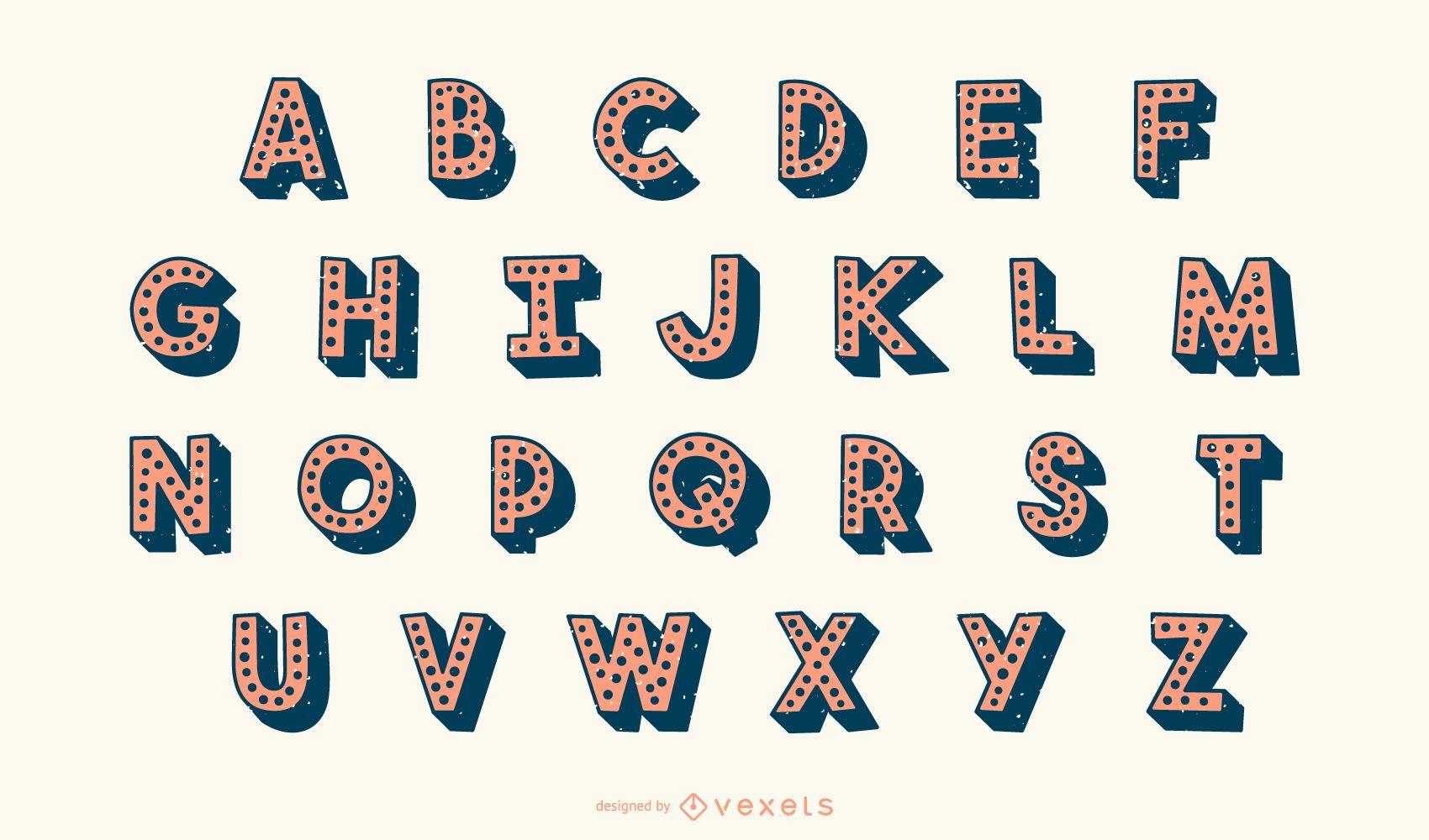 Conjunto de vectores de letras del alfabeto punteado 3D